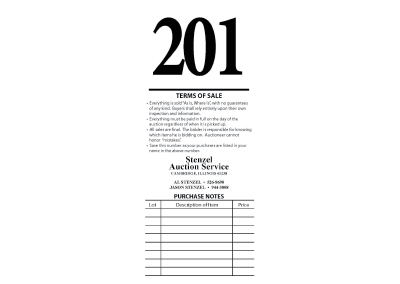 auction number card